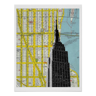 Empire State Building with NYC Streetmap Backgroud Poster
