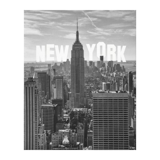 Empire State Building WTC BW 2C L del horizonte de Lienzo Envuelto Para Galerías