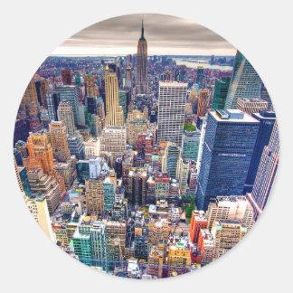 Empire State Building y Midtown Manhattan Pegatina Redonda