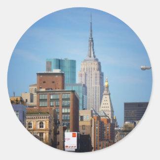 Empire State Building y NYC céntrico Pegatina Redonda