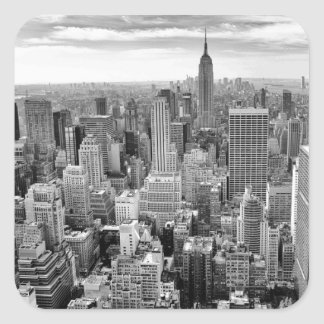 Empire States Building Black White New York City Square Sticker