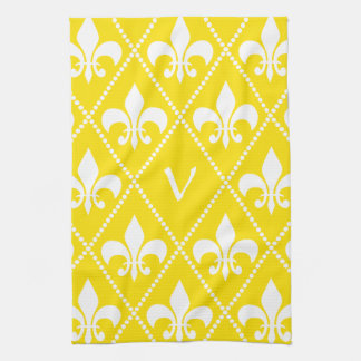 Empire Yellow Fleur de Lis with monogram initial Kitchen Towel
