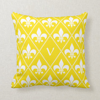 Empire Yellow Fleur de Lis with monogram initial Throw Pillow