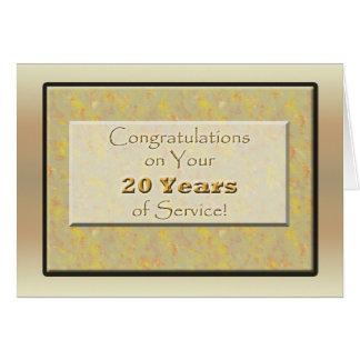 Empleado 20 años de servicio o de aniversario tarjeta de felicitación