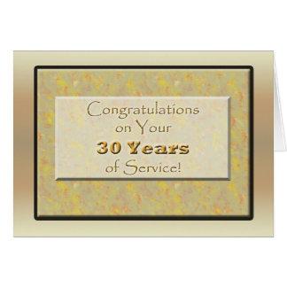 Empleado 30 años de servicio tarjeta de felicitación