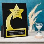 Empleado de encargo del premio del mes, estrella d placa de madera