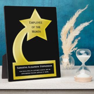 Empleado de encargo del premio del mes, estrella d placa de plastico
