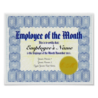Empleado de la impresión del certificado del mes póster