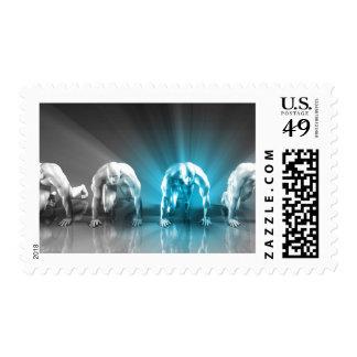 Empleado motivado u hombre de negocios especial sello postal