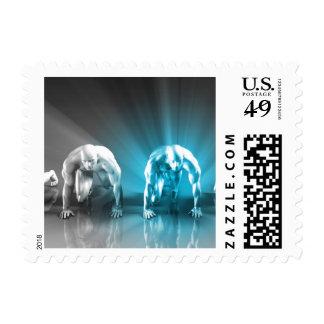 Empleado motivado u hombre de negocios especial sellos postales