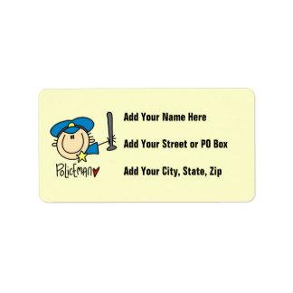 Empleo del policía etiquetas de dirección