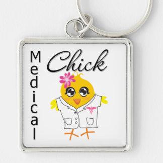 Empleo médico del polluelo llavero cuadrado plateado