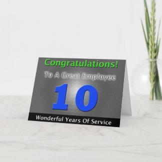 Employee 10th Anniversary Bold and Stylish Card