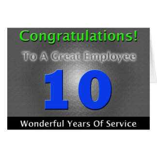 Employee 10th Anniversary Bold and Stylish Card