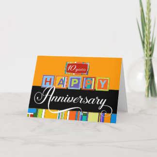 Employee 10th  Anniversary - Bold Colors Card