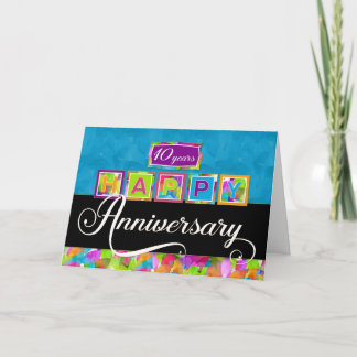 Employee 10th  Anniversary - Colorful Card