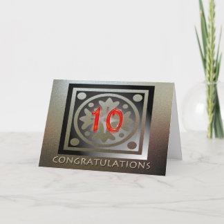 Employee 10th Anniversary Elegant Golden Red Card
