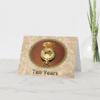 Employee 10th Anniversary Elegant Golden Watch Card