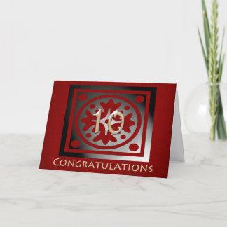 Employee 10th Anniversary Elegant Red Oak Card