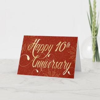 Employee 10th Anniversary - Swirly Text - Red Card