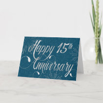 Employee 15th Anniversary - Swirly Text - Blue Card