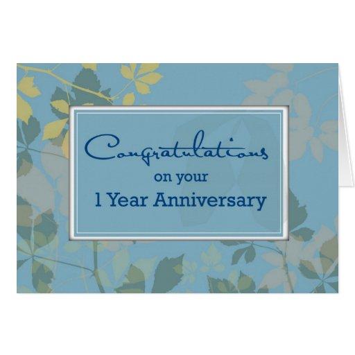 Employee 1 Year Anniversary, Congratulations Card