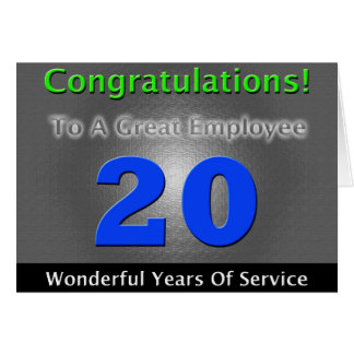 Employee 20th Anniversary Bold and Stylish Card