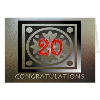 Employee 20th Anniversary Elegant Golden Red Card