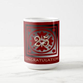 Employee 25th Anniversary Elegant Golden Red Coffee Mug