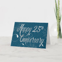 Employee 25th Anniversary - Swirly Text - Blue Card