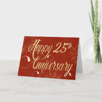 Employee 25th Anniversary - Swirly Text - Red Card