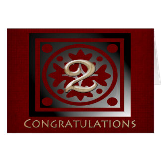 Employee 2 Year Anniversary Elegant Golden Red Stationery Note Card
