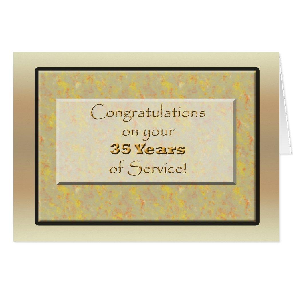 Employee 35 Years of Service  1 Year Work Anniversary Congratulations