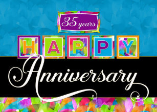 employee 35th anniversary colorful card - Employee Anniversary Cards
