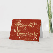 Employee 40th Anniversary - Swirly Text - Red Card