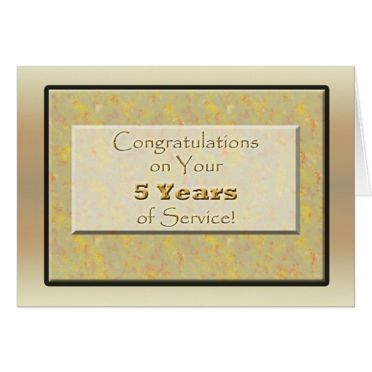 Employee 5 Years of Service or Anniversary Card