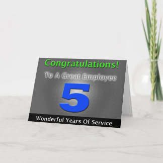 Employee 5th Anniversary Bold and Stylish Card