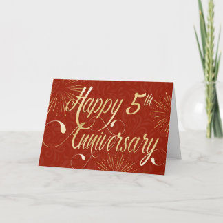Employee 5th Anniversary - Swirly Text - Red Card