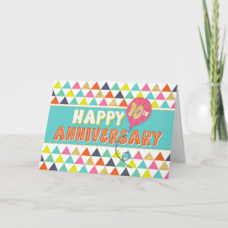 Employee Anniversary 10 Years - Colorful Pattern Card
