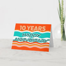 Employee Anniversary 10 Years Colorful Waves Card