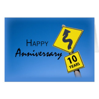 Employee Anniversary, 10 Years Road Sign Cards