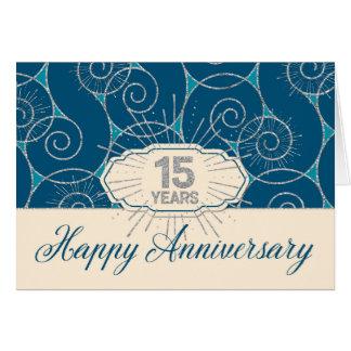 Employee Anniversary 15 Years - Blue Swirls Card