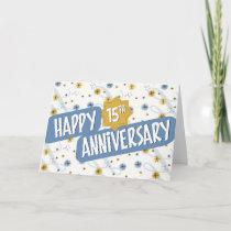 Employee Anniversary 15 Years Blue White Pattern Card