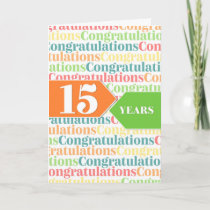 Employee Anniversary 15 Years Colorful Pattern Card