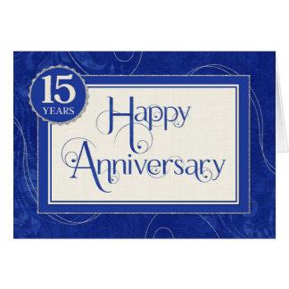 Employee Anniversary 15 Years - Text Swirls Blue Card