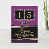Employee Anniversary 15 Yrs Decorative Formal Plum Card