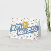 Employee Anniversary 1 Year Blue White Pattern Card