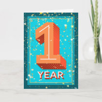 Employee Anniversary 1 Year - Bold Numbers Card