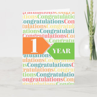 Employee Anniversary 1 Year Colorful Pattern Card