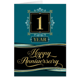 Employee Anniversary 1 Year Decorative Formal Jade Card